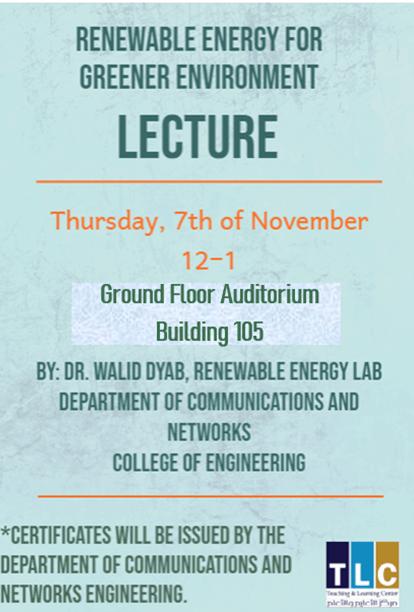Renewable energy for greener environment (workshop)