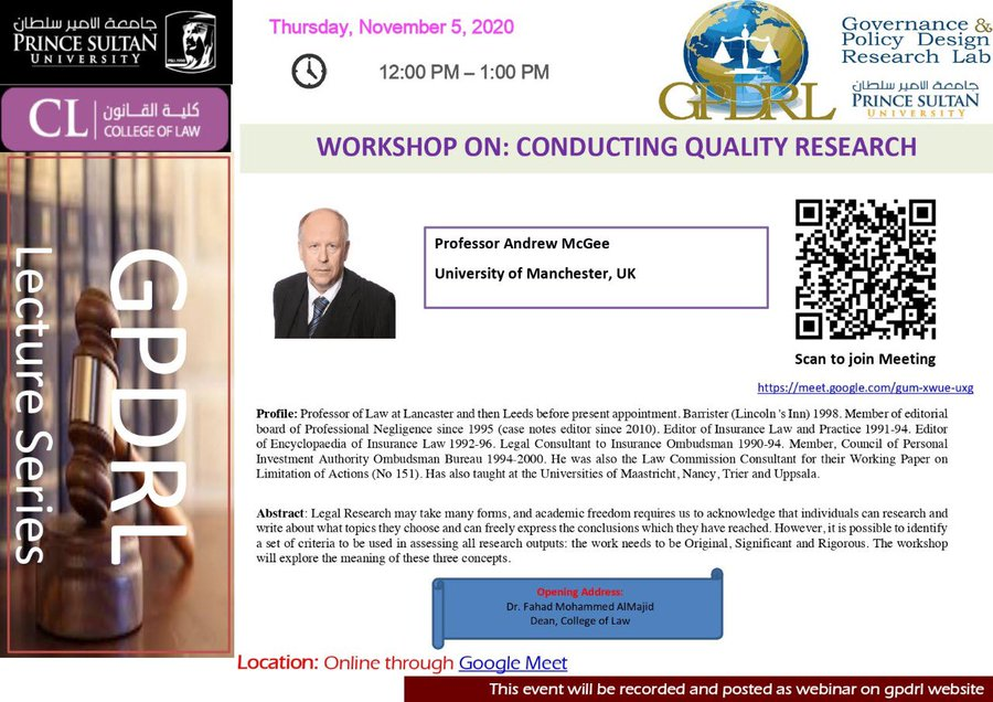 Workshop on: Conducting Quality Research