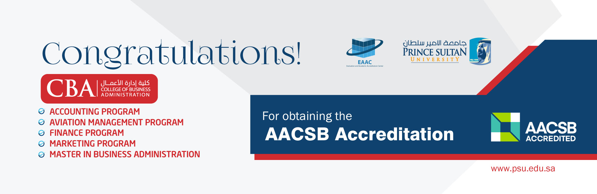 Congratulations Accreditation AACSB CBA